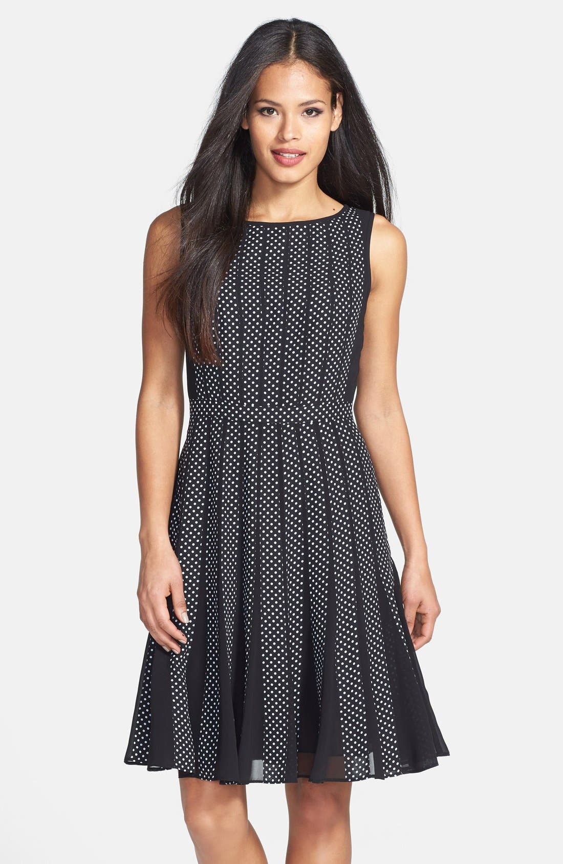Main Image - Adrianna Papell Polka Dot Chiffon Fit & Flare Dress