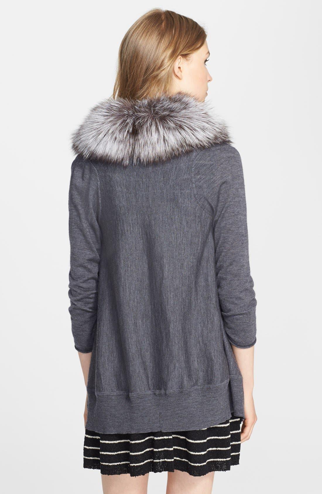 Alternate Image 2  - Alice + Olivia 'Izzy' Cascade Cardigan with Detachable Genuine Fox Fur Collar