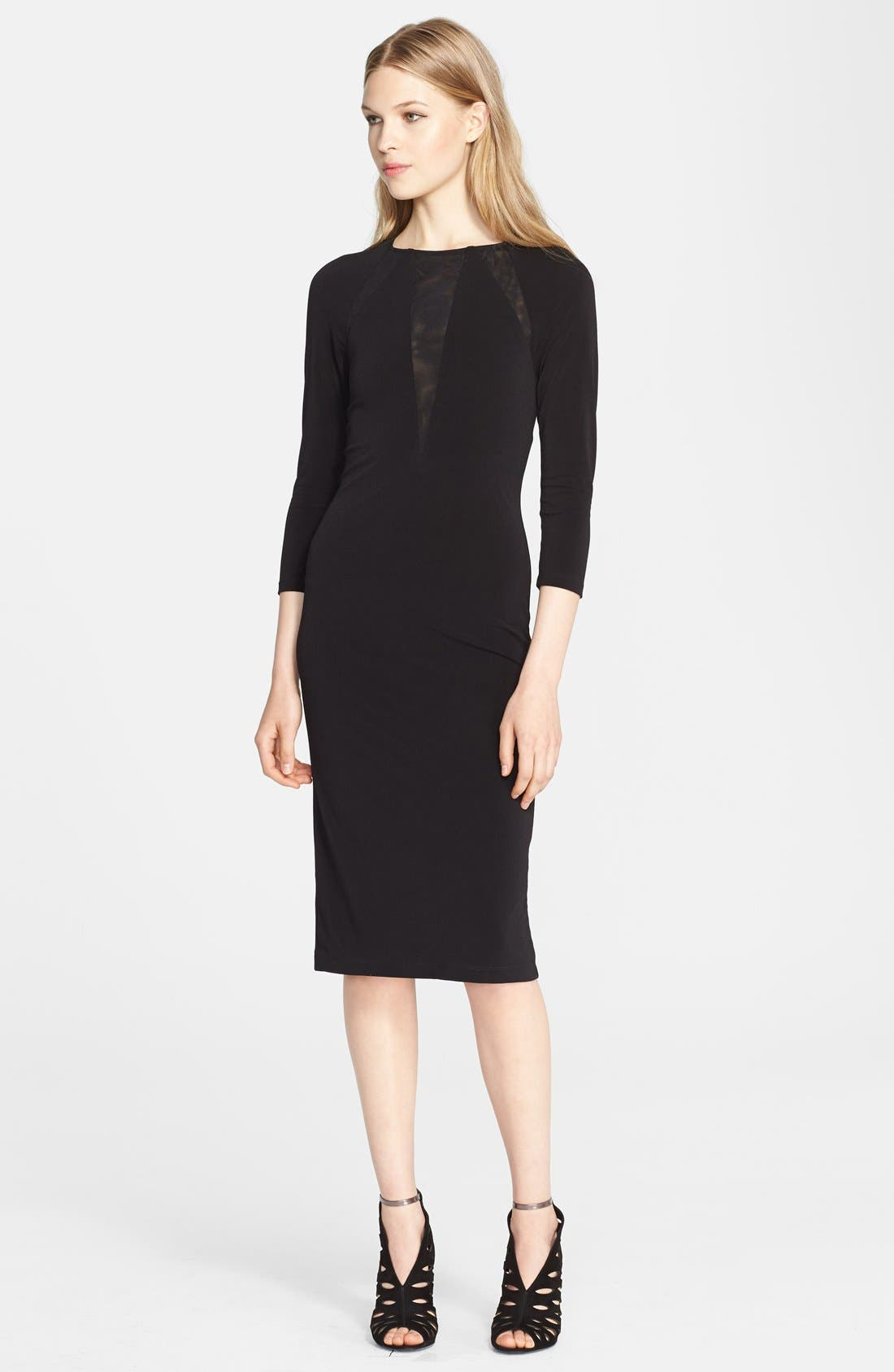 Alternate Image 1 Selected - Alice + Olivia 'Maris' Sheer Sunburst Jersey Dress