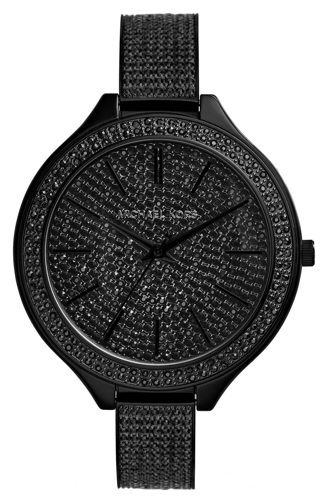 Main Image - Michael Kors 'Slim Runway' Pavé Crystal Bangle Watch, 43mm