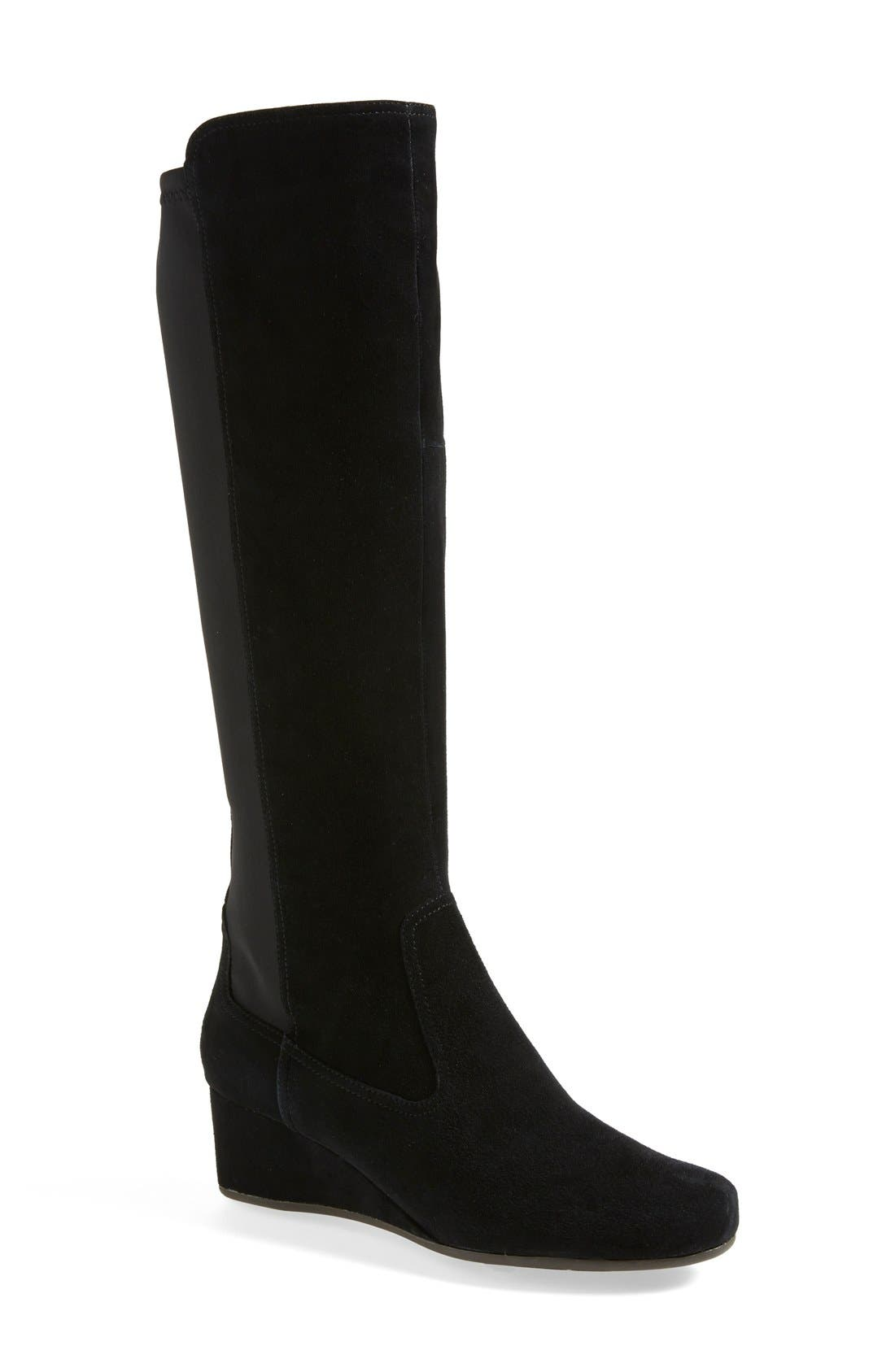 rockport total motion suede boot wide calf