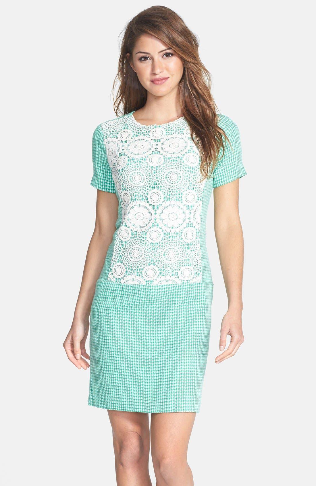 Main Image - Ivy & Blu Crochet Panel Tweed Shift Dress