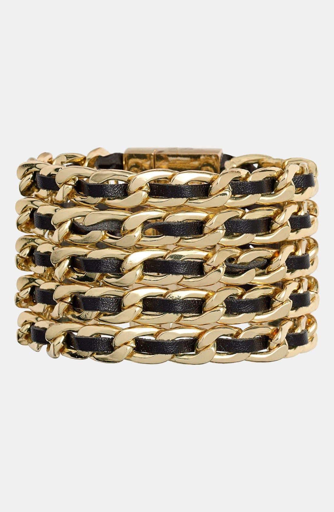 Alternate Image 1 Selected - Cara Leather & Link Bracelet