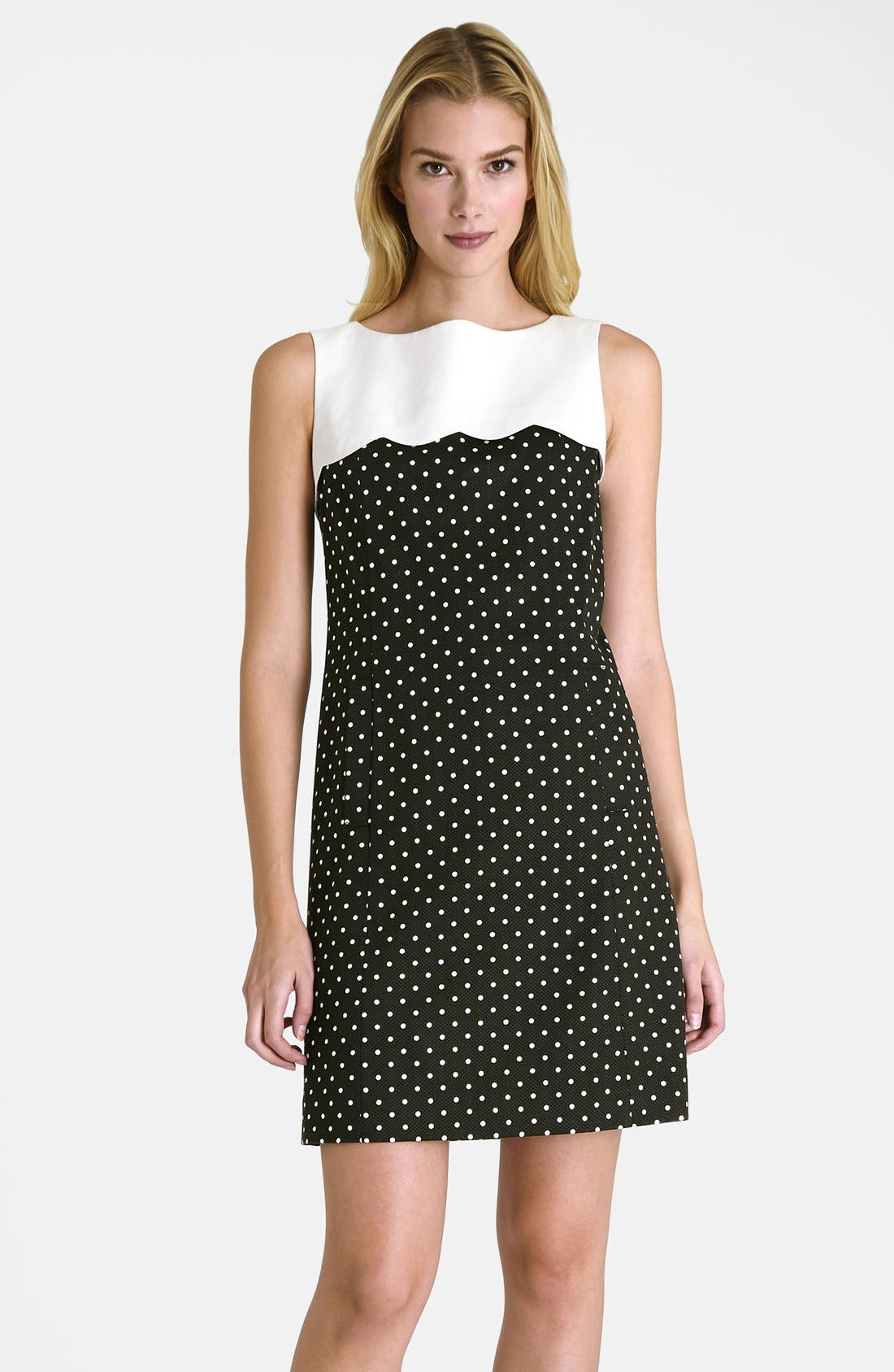 Alternate Image 1 Selected - Tahari Polka Dot Shift Dress (Petite)