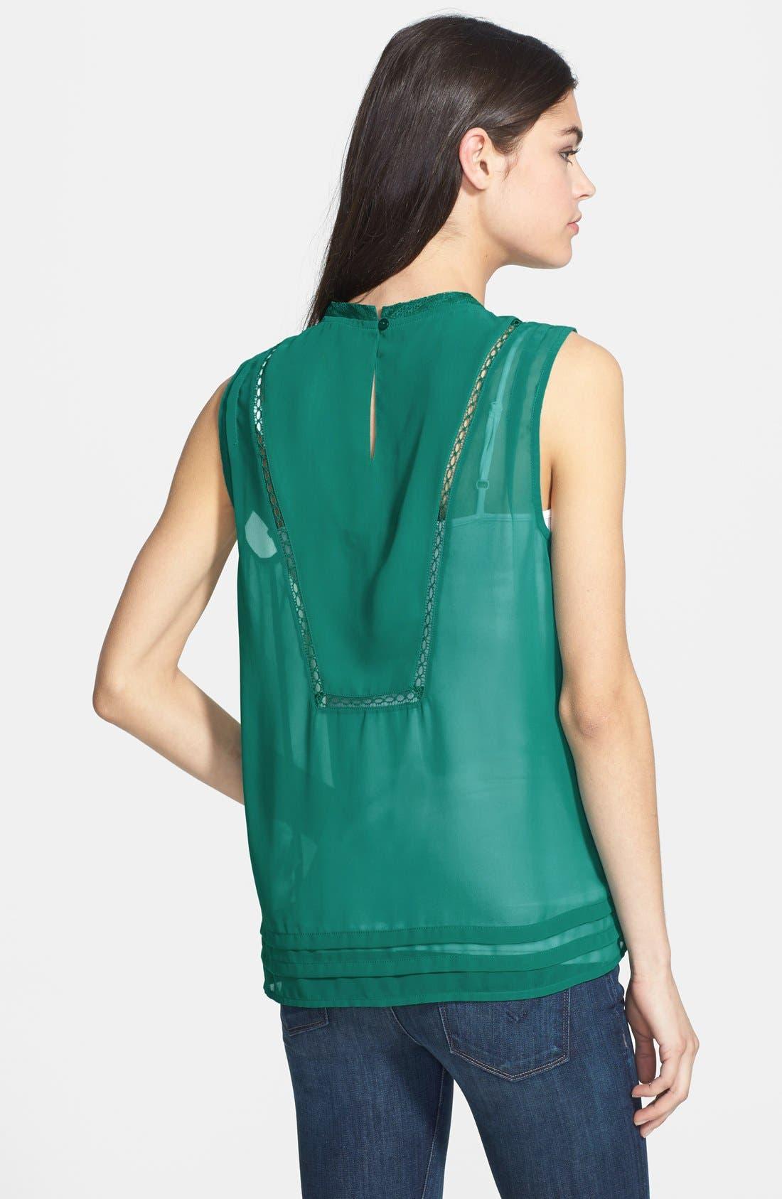 Alternate Image 2  - Hinge® Embroidered Bib Sleeveless Blouse
