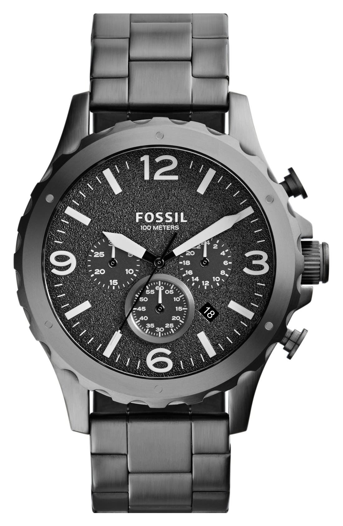 Alternate Image 1 Selected - Fossil 'Nate' Chronograph Bracelet Watch, 46mm