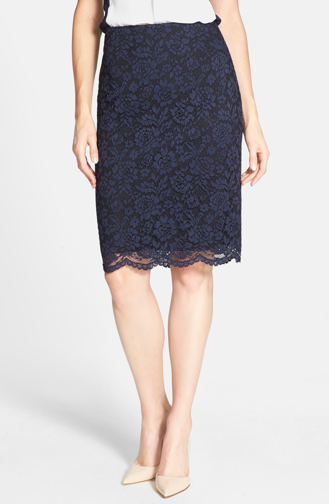 Alternate Image 1 Selected - Vince Camuto Lace Overlay Back Zip Skirt (Regular & Petite)