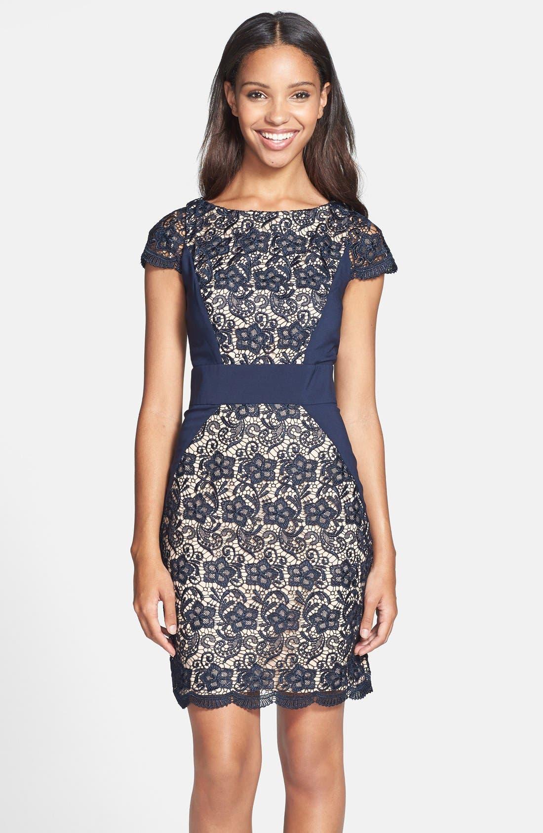 Main Image - Jessica Simpson Contrast Panel Lace Sheath Dress