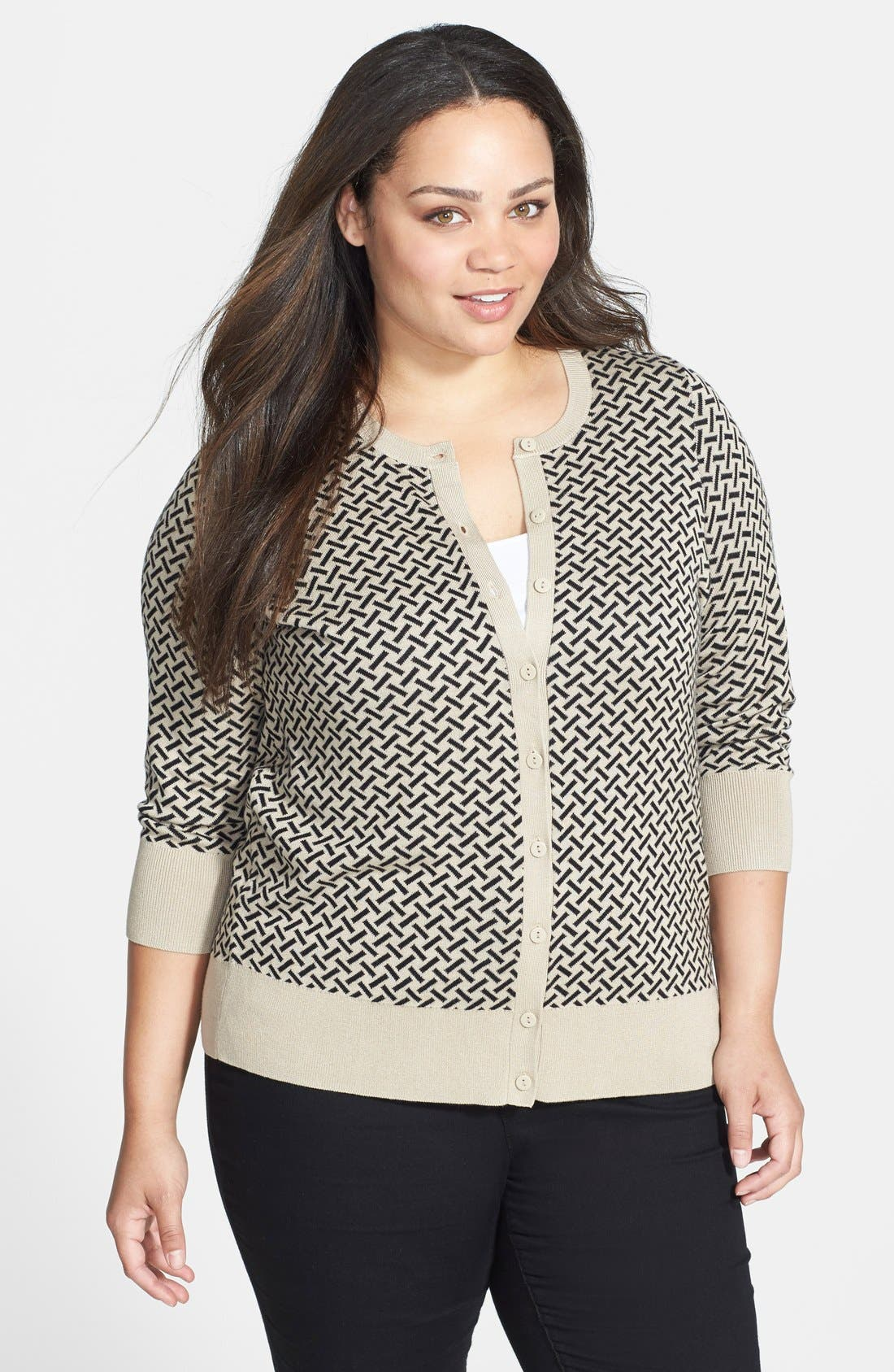 Main Image - Sejour Patterned Crewneck Cardigan (Plus Size)