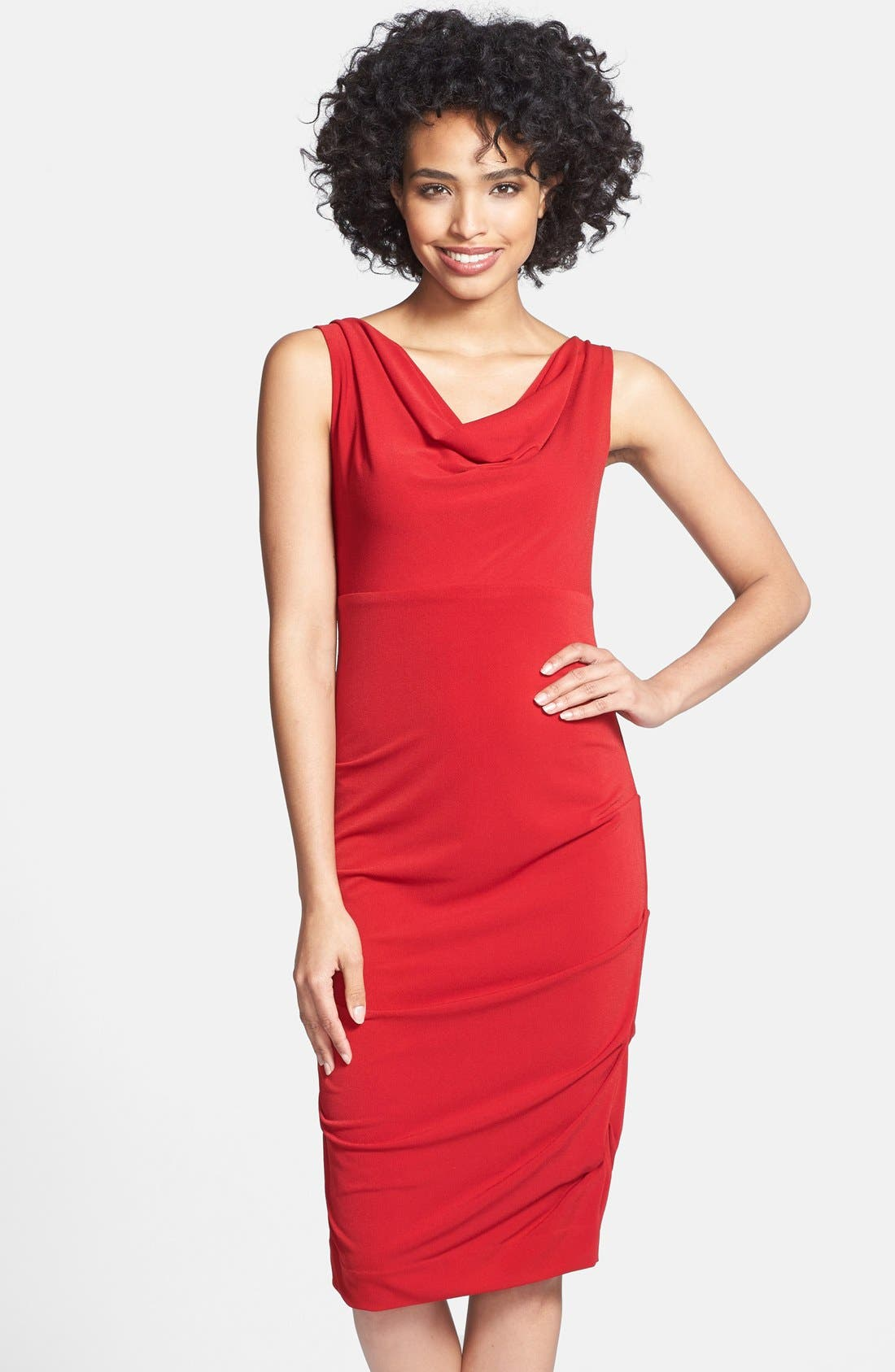 Alternate Image 1 Selected - Nicole Miller Cowl Neck Crepe Sheath Dress