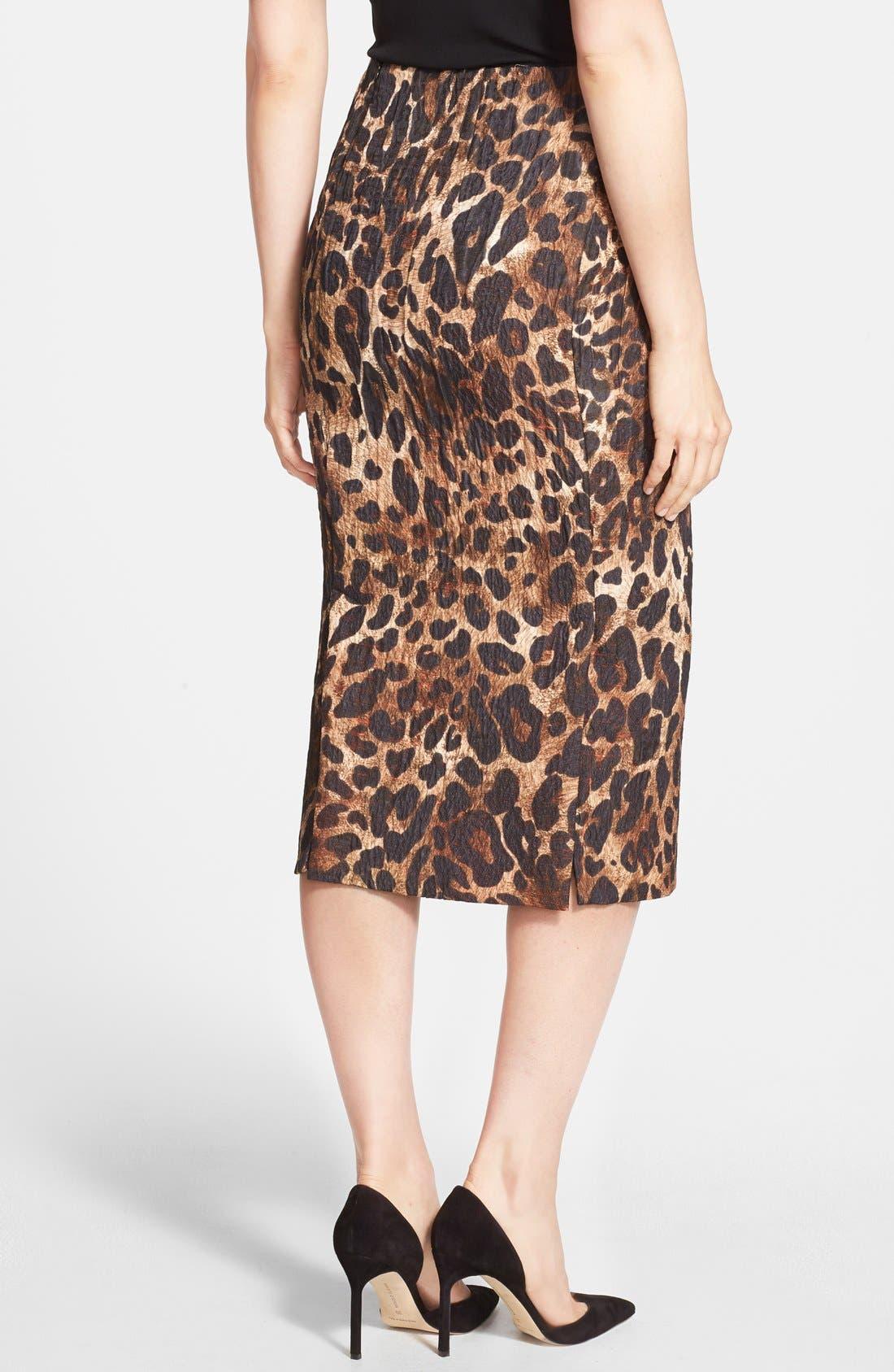Alternate Image 2  - Lafayette 148 New York 'Priscilla' Leopard Print Midi Skirt
