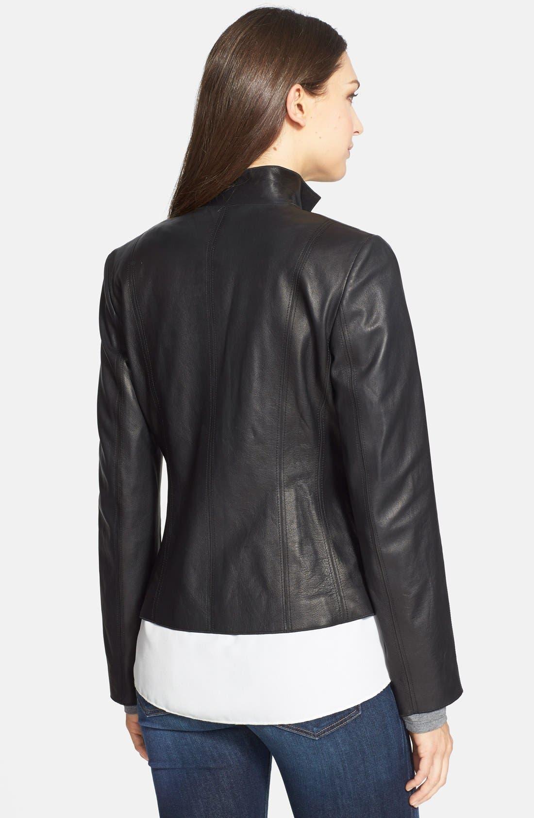 Alternate Image 2  - Cole Haan Notch Collar Lambskin Leather Jacket (Regular & Petite)
