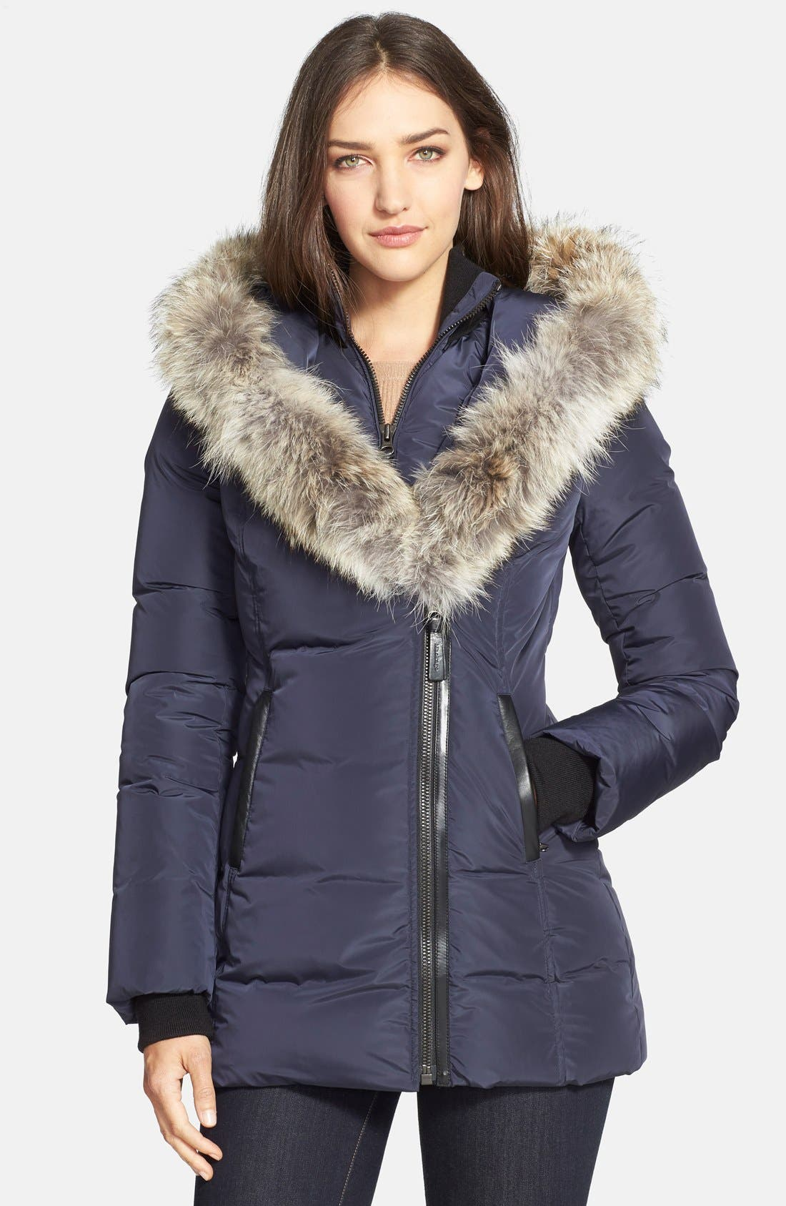 Main Image - Mackage 'Adali' Fitted Down Coat with Genuine Coyote Fur Trim