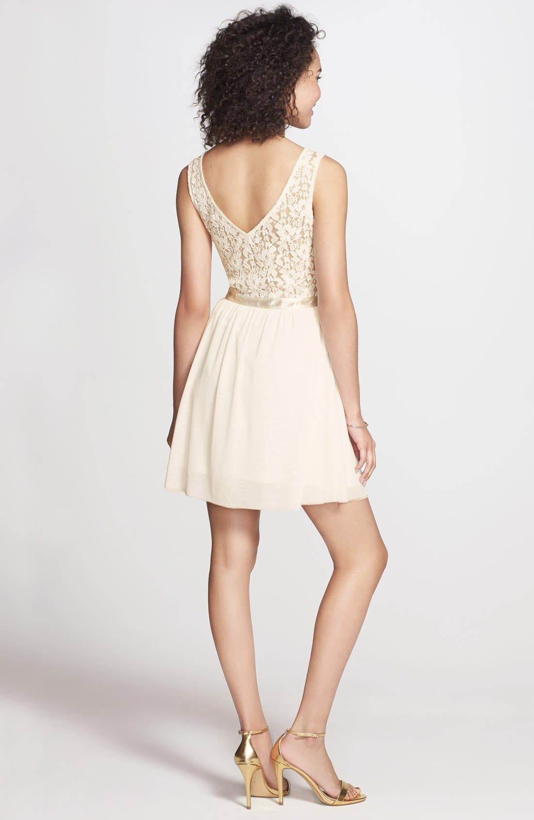 Alternate Image 2  - Frenchi® Lace Bodice Dress (Juniors)