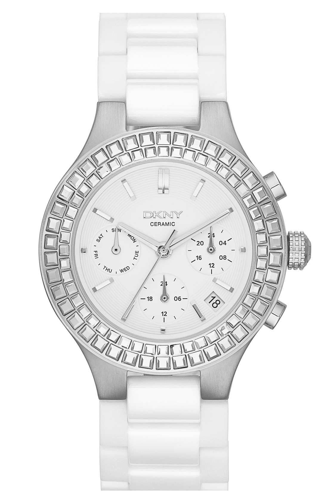 Alternate Image 1 Selected - DKNY 'Chambers' Crystal Bezel Multifunction Ceramic Bracelet Watch, 38mm