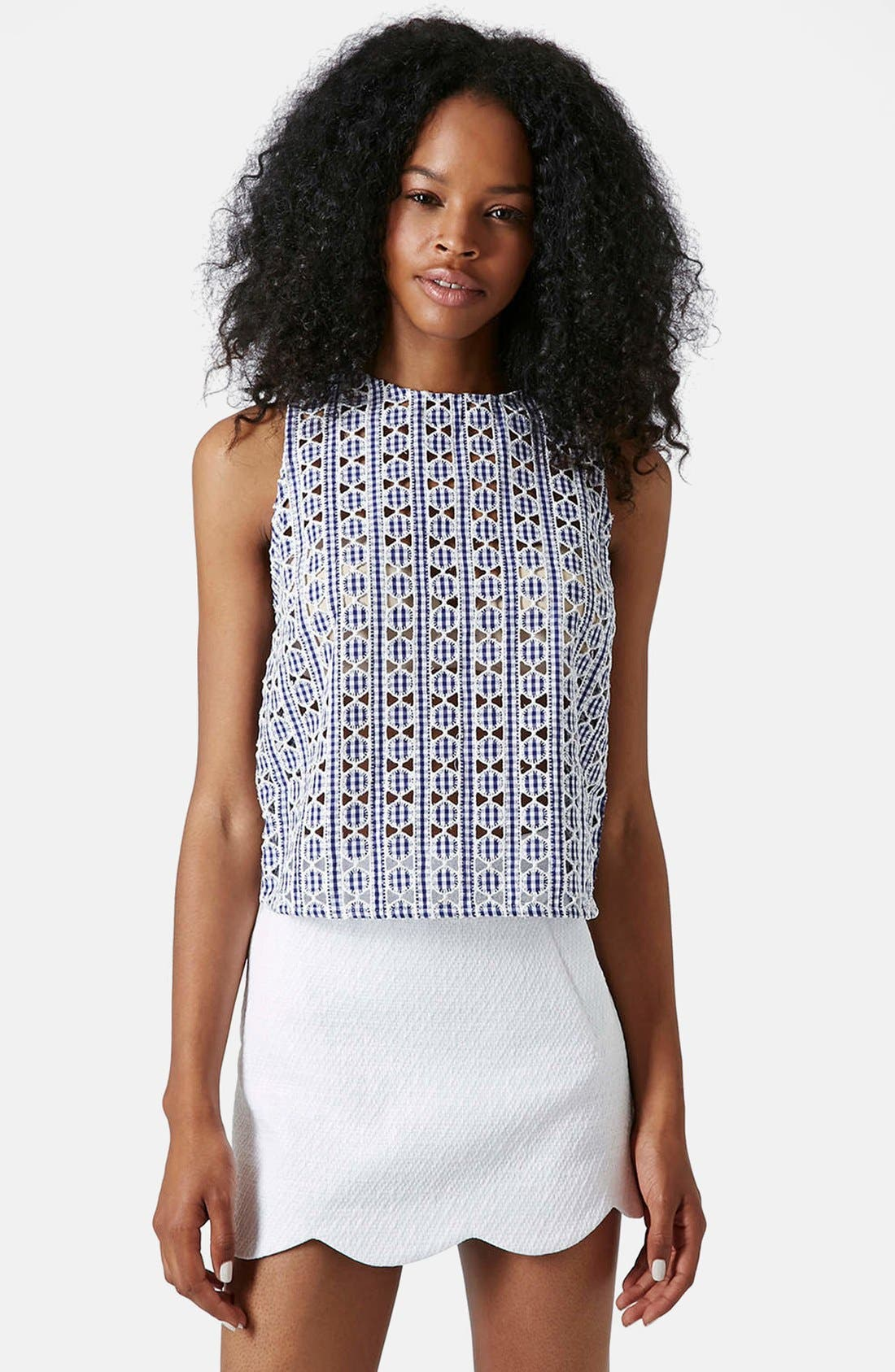 Alternate Image 1 Selected - Topshop Gingham Print Cutout Shell