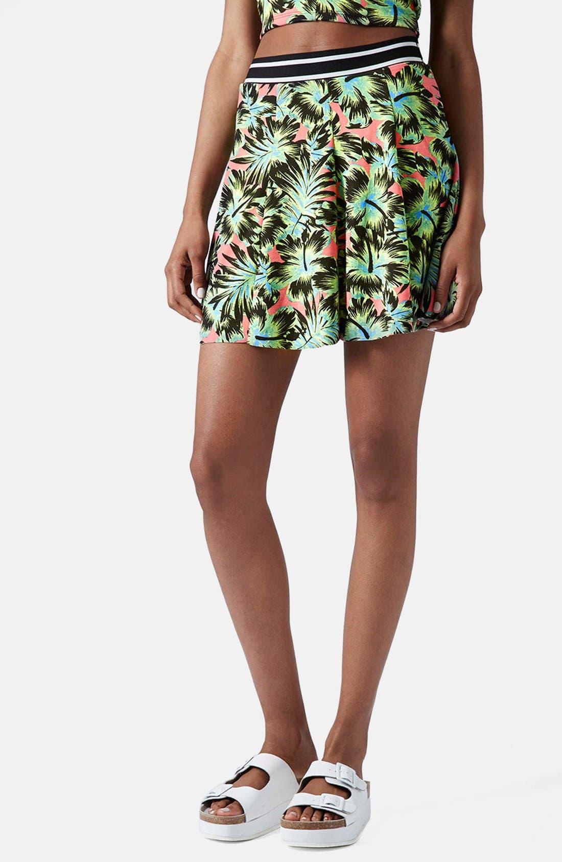 Main Image - Topshop Hawaiian Print Pleated Skirt