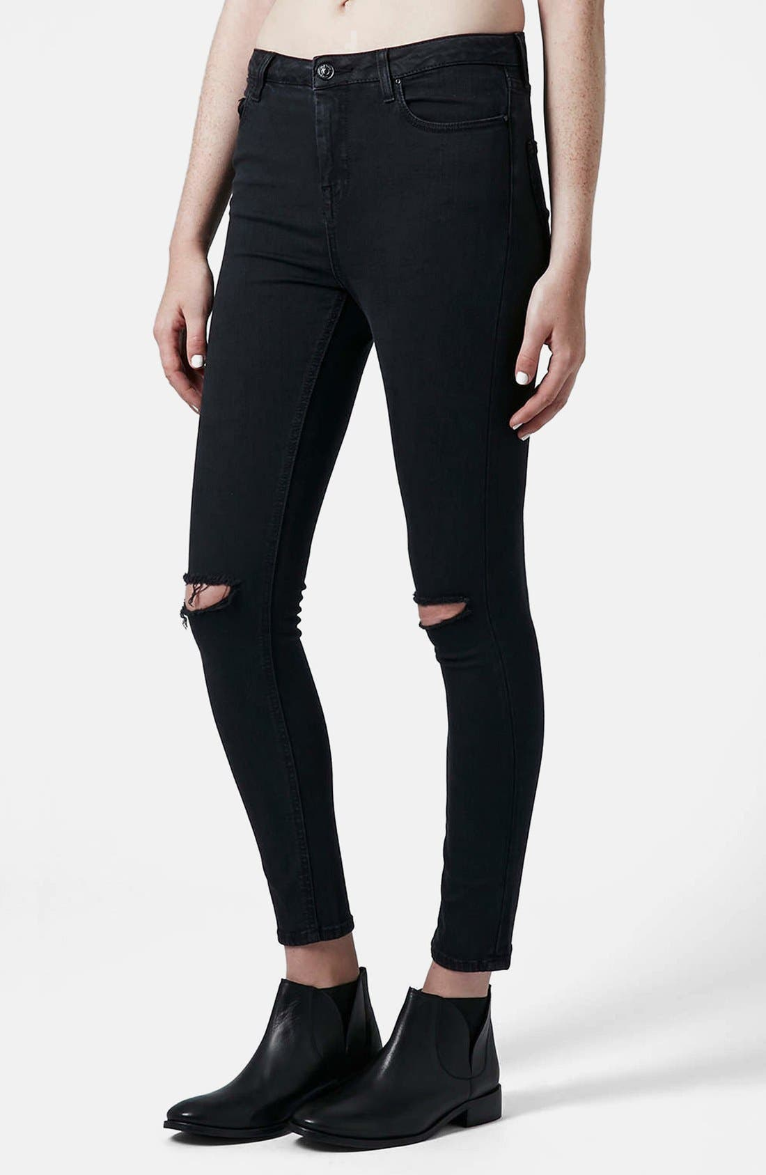 Main Image - Topshop Moto 'Jamie' Dark Wash Ripped Slim Jeans (Black) (Short & Regular)