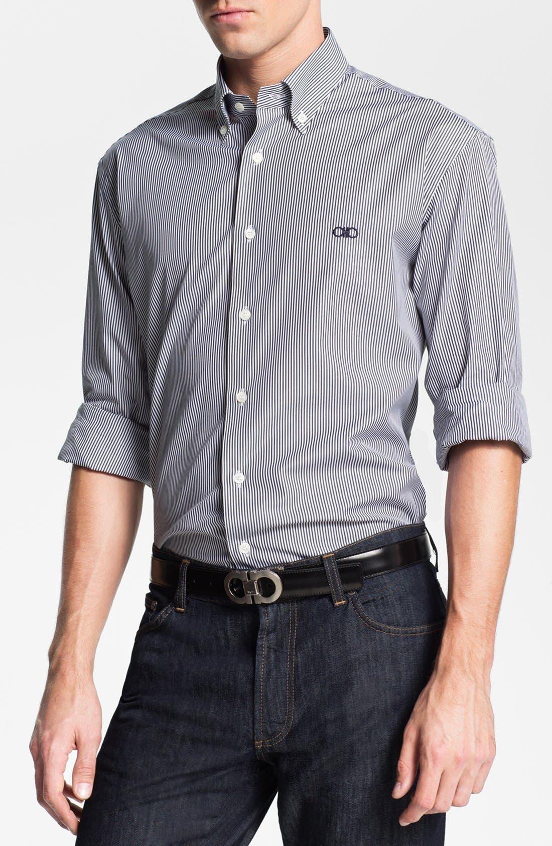 Alternate Image 1 Selected - Salvatore Ferragamo Striped Sport Shirt