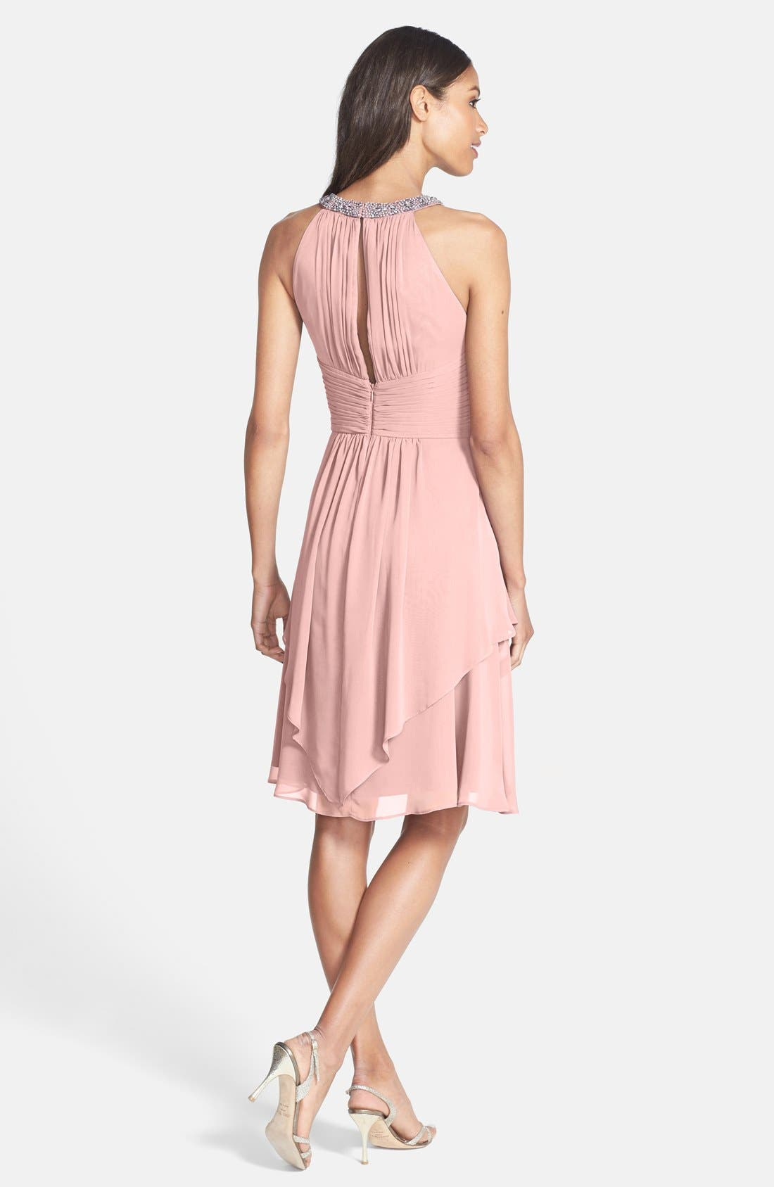 Alternate Image 2  - Eliza J Embellished Neck Layered Chiffon Fit & Flare Dress