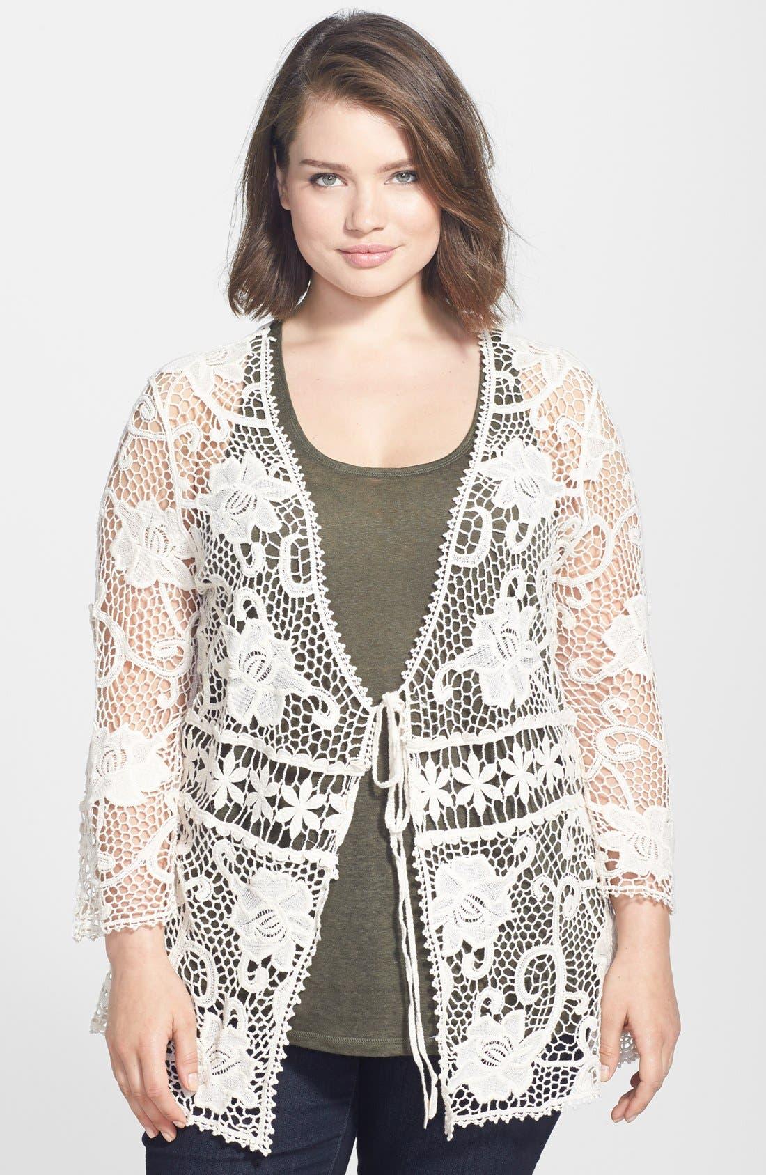 Main Image - Forgotten Grace Tie Front Crochet Cardigan (Plus Size)