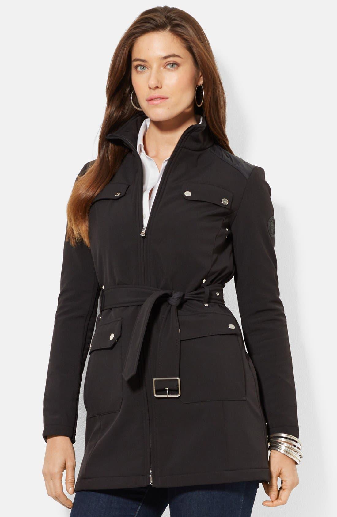 Main Image - Lauren Ralph Lauren Belted Soft Shell Jacket (Online Only)