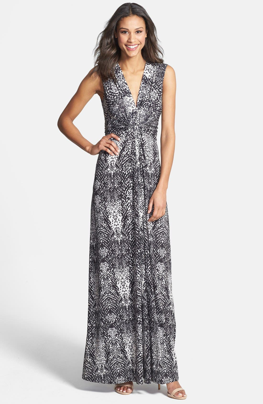 Alternate Image 1 Selected - Eliza J Print Front Knot Jersey Maxi Dress