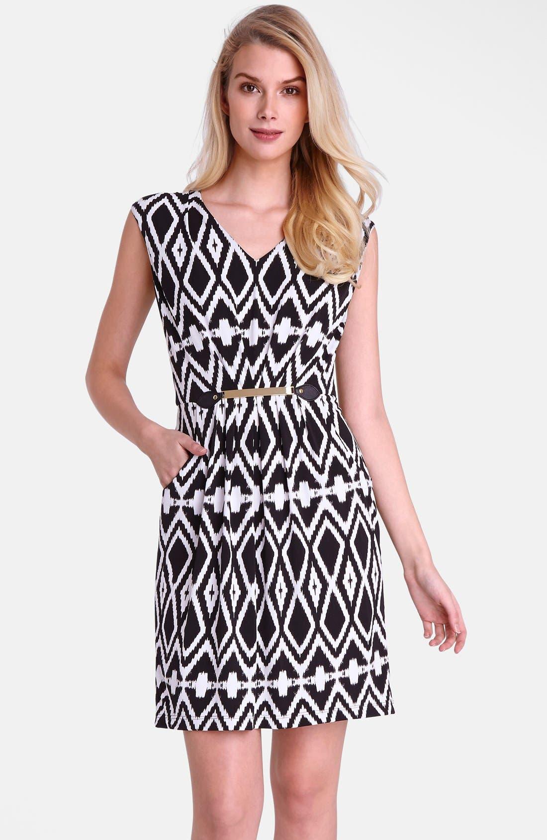 Main Image - Tahari Belted Geo Print Jersey Sheath Dress