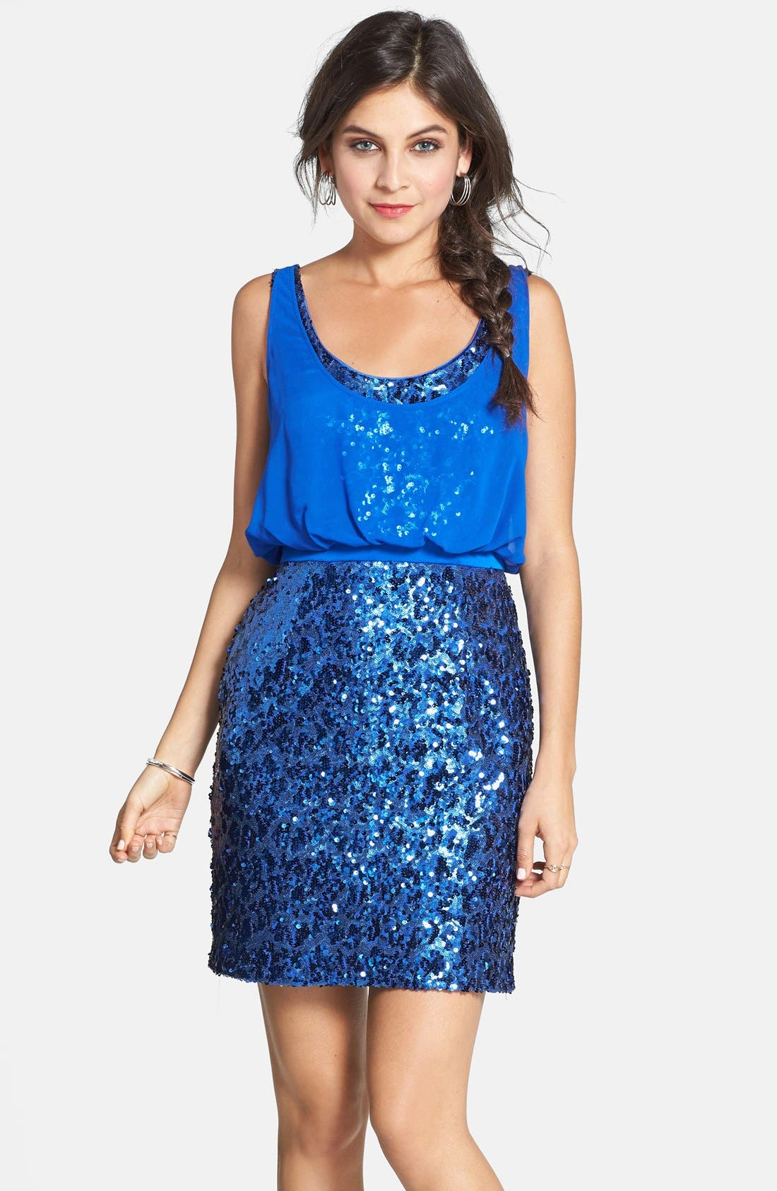 Alternate Image 1 Selected - Aidan by Aidan Mattox Chiffon Overlay Sequin Sheath Dress