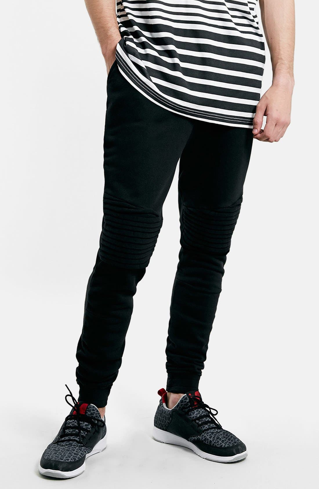 Alternate Image 1 Selected - Topman Moto Jogger Pants with Quilted Knee Panels