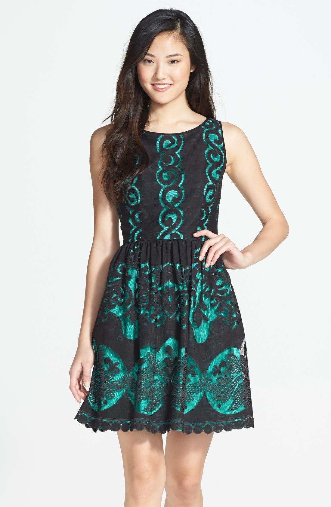 Main Image - Ivy & Blu Burnout Lace Fit & Flare Dress