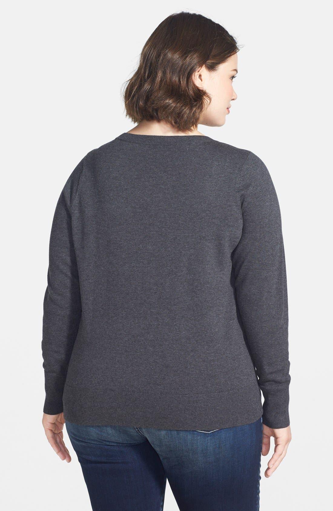 Alternate Image 2  - Halogen® Long Sleeve Intarsia Sweater (Plus Size)