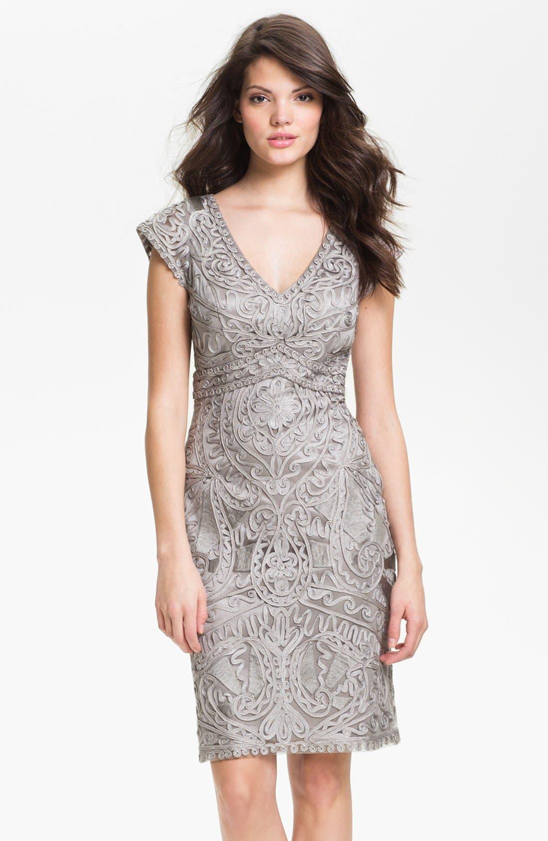 Alternate Image 1 Selected - Sue Wong Embroidered V-Neck Sheath Dress