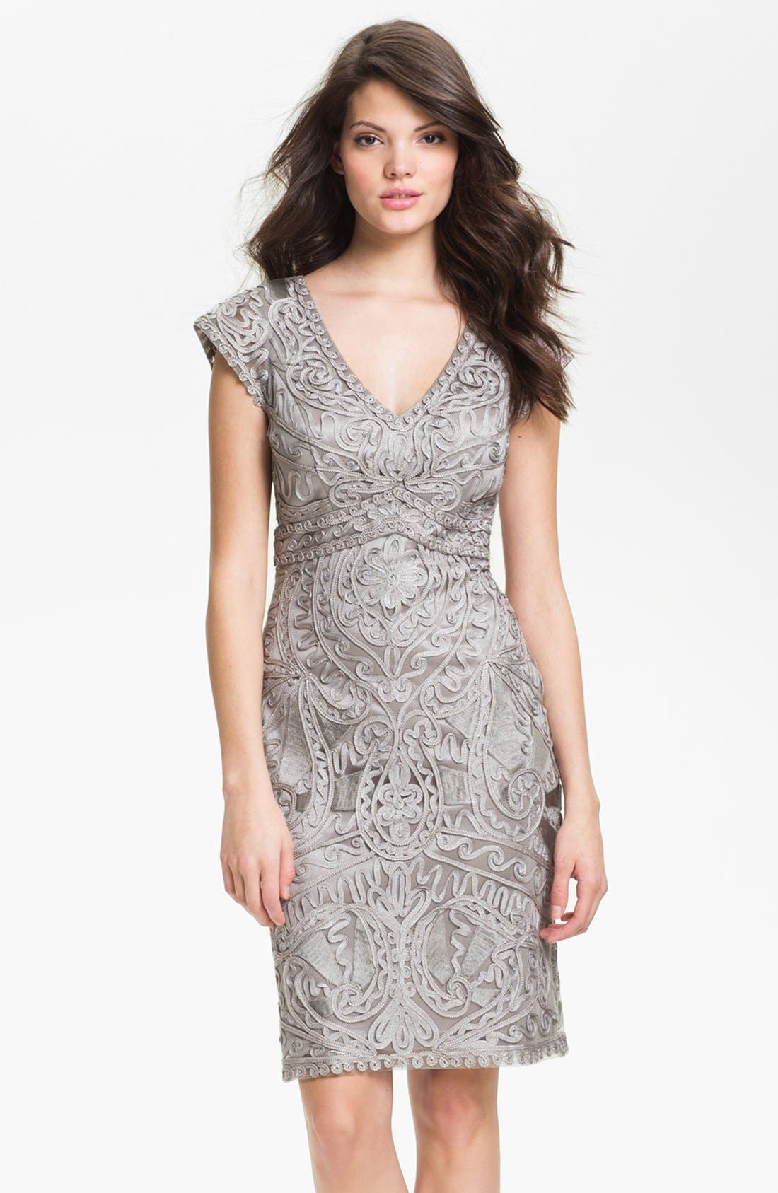 Main Image - Sue Wong Embroidered V-Neck Sheath Dress