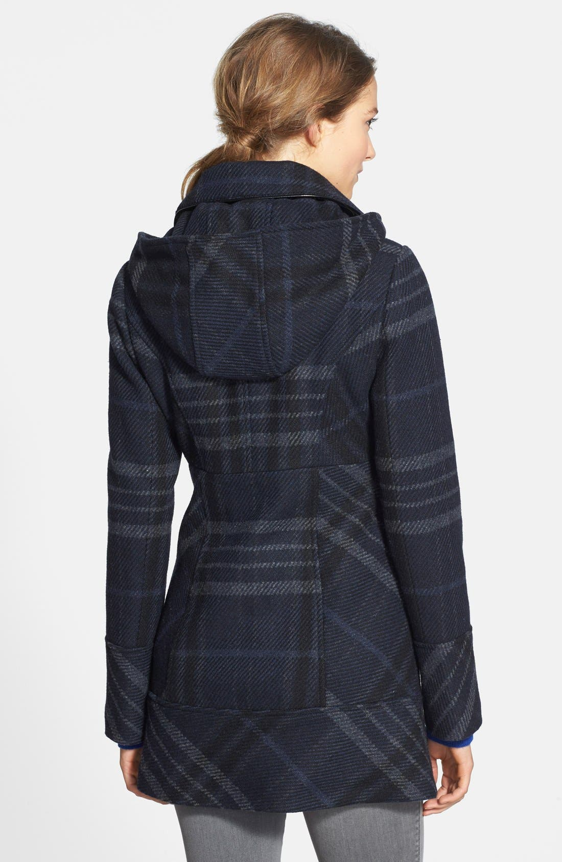 Alternate Image 2  - GUESS Plaid Toggle Front Coat with Removable Hood (Regular & Petite)
