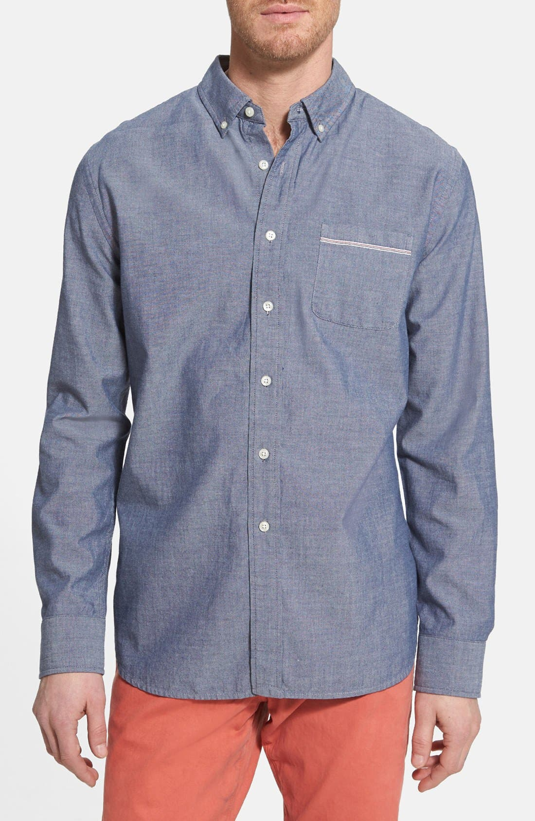 Alternate Image 1 Selected - Grayers Trim Fit Selvedge Chambray Sport Shirt