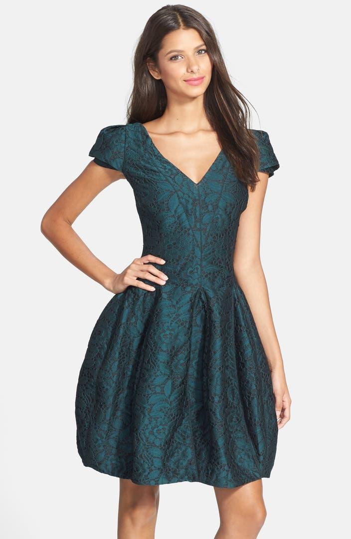 Halston Heritage Jacquard Layered Sleeve Fit Amp Flare Dress