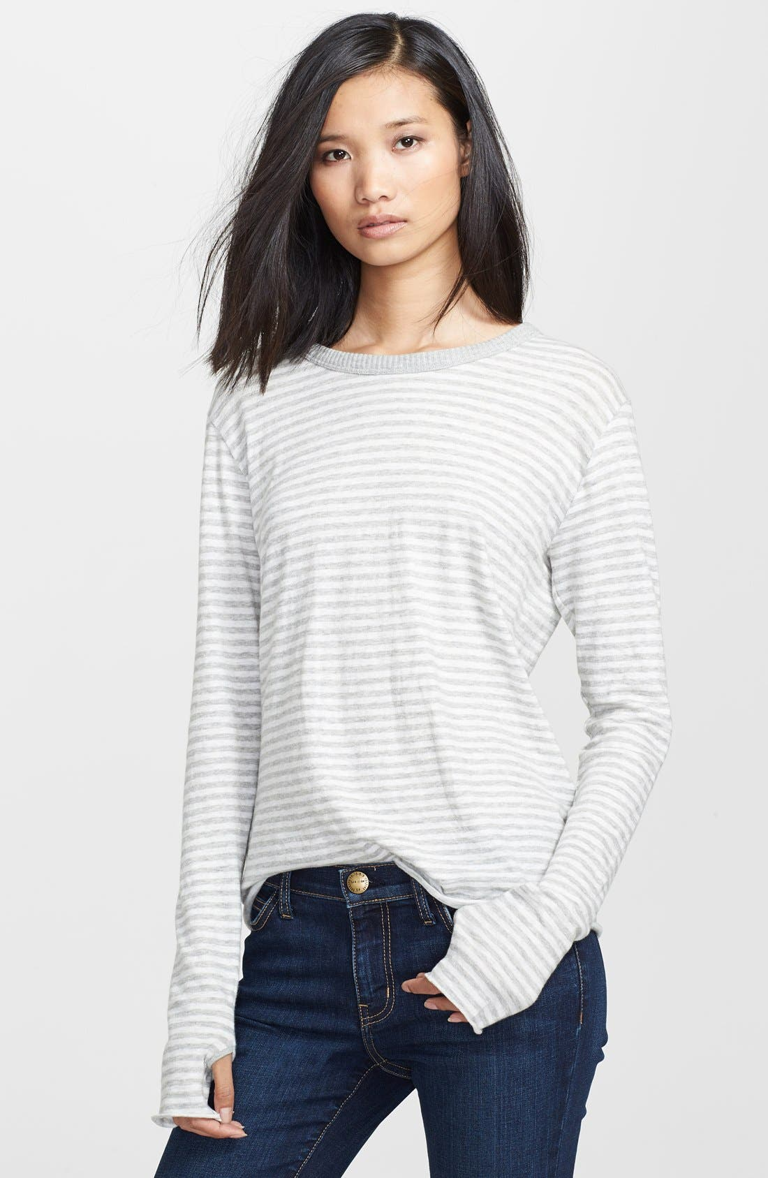 Alternate Image 1 Selected - Enza Costa Stripe Cotton & Cashmere Tee