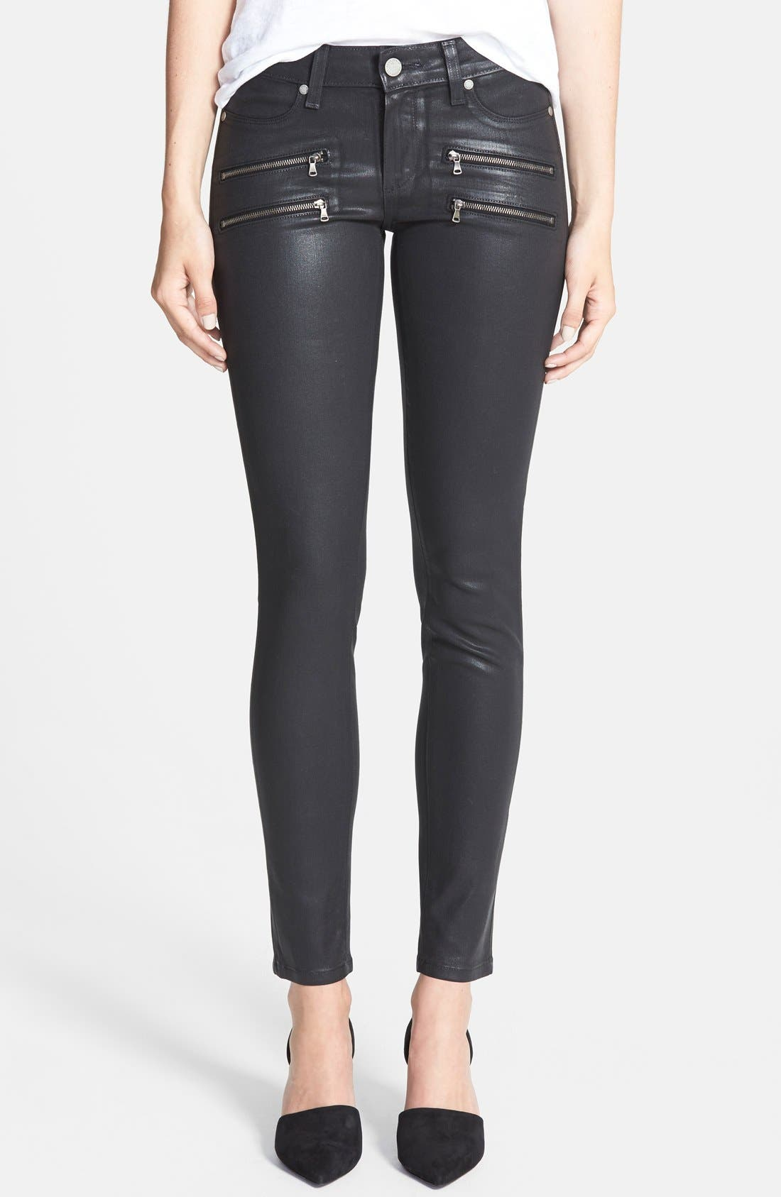 PAIGE 'Edgemont' Coated Ultra Skinny Jeans (Black Silk)