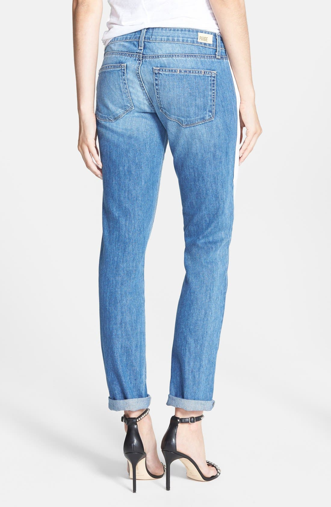 Alternate Image 2  - Paige Denim 'Jimmy Jimmy' Leather Stripe Skinny Boyfriend Jeans (Indigo Dart)