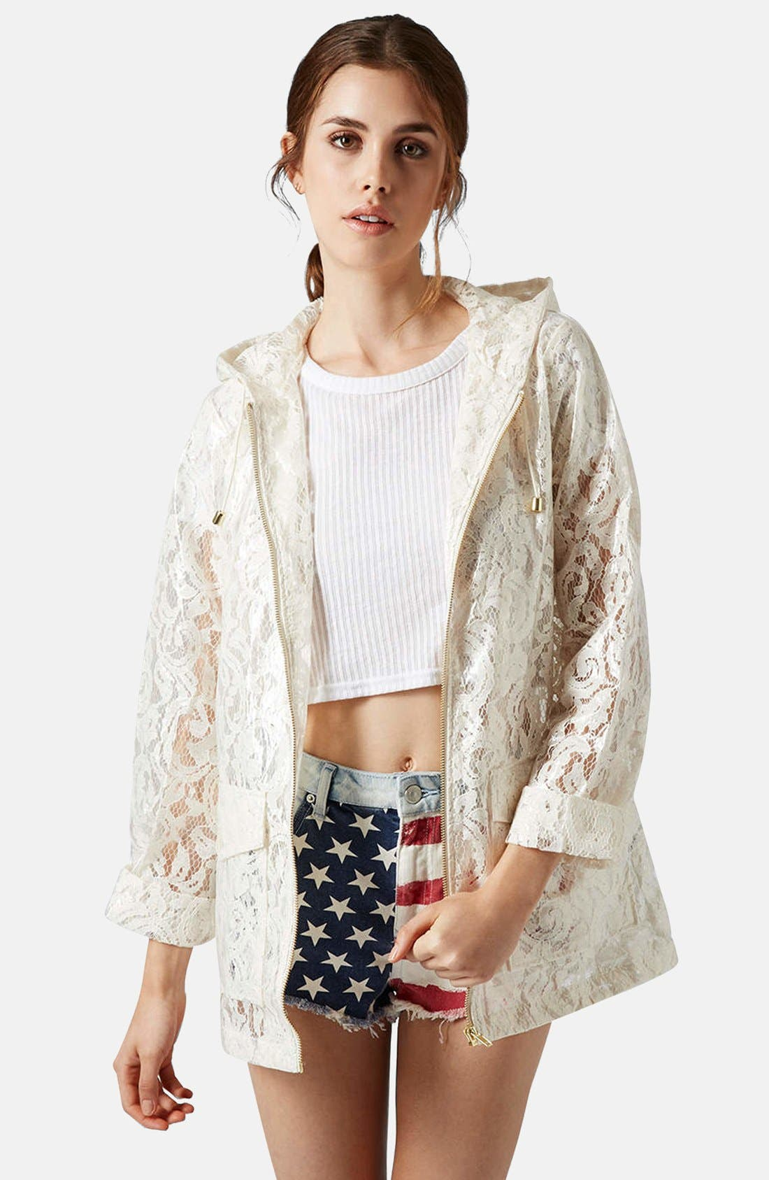 Main Image - Topshop Cream Lace Mackintosh Coat