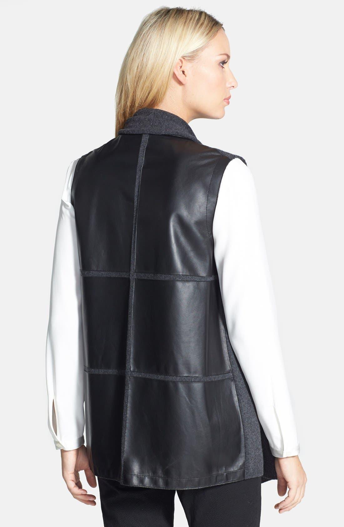 Alternate Image 2  - Lafayette 148 New York Leather Back Merino & Cashmere Vest (Plus Size)