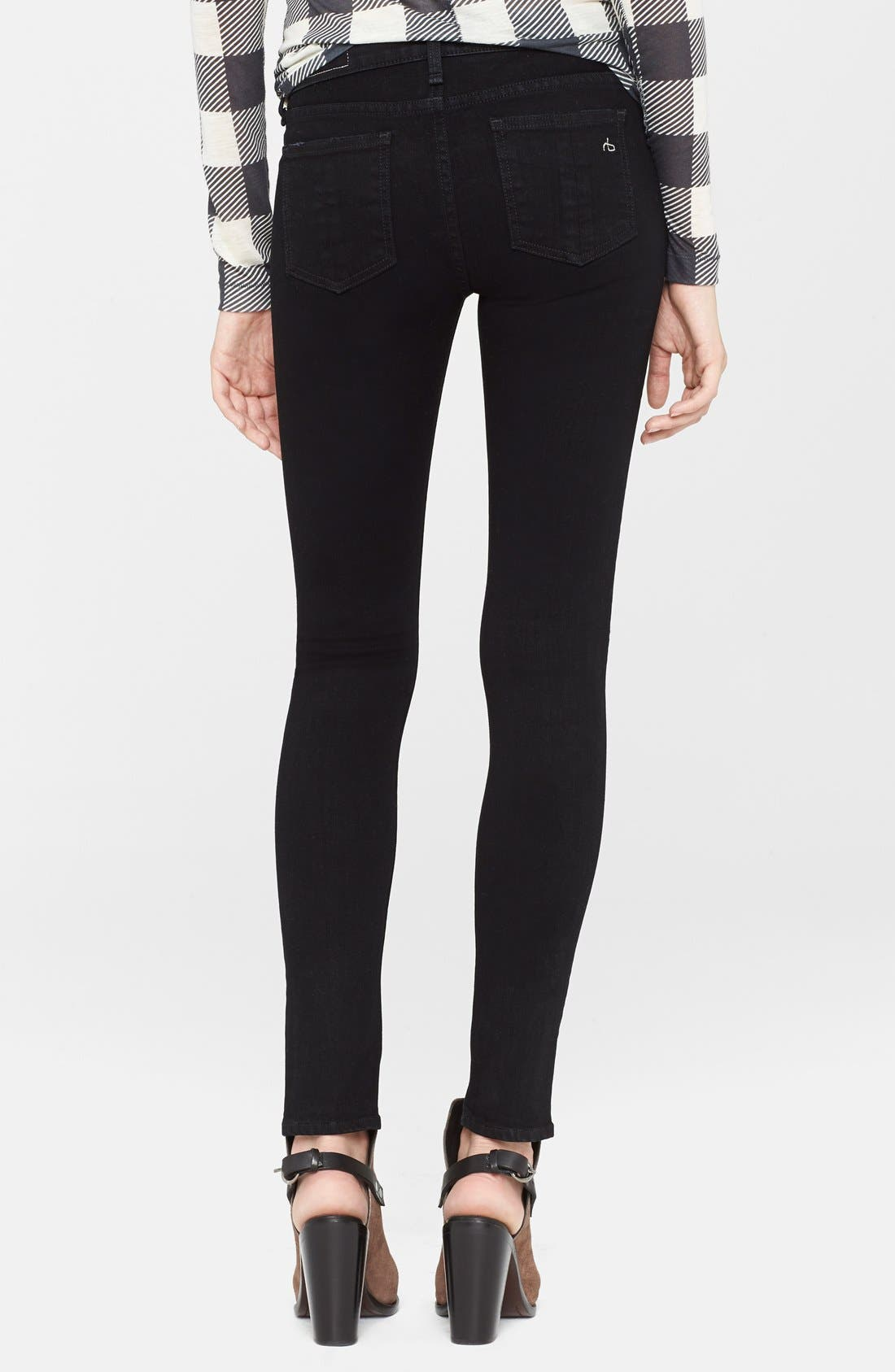 Alternate Image 2  - rag & bone/JEAN 'The Skinny' Stretch Jeans (Coal With Holes)