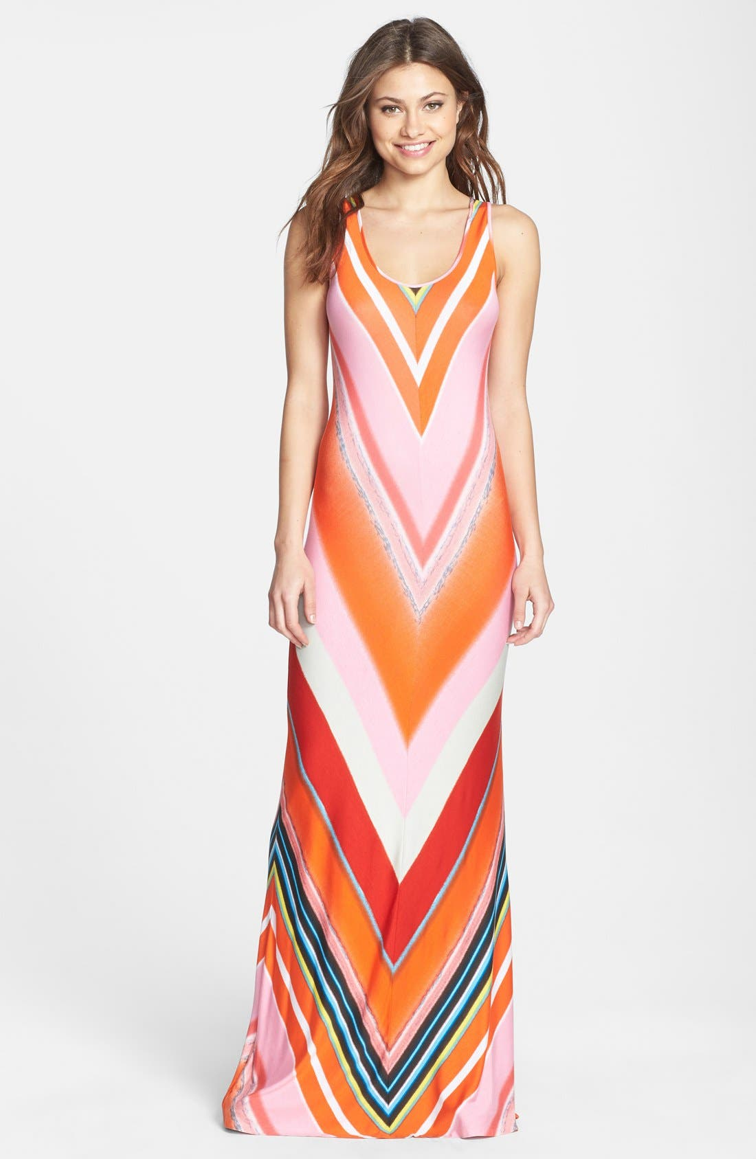 Alternate Image 1 Selected - Felicity & Coco Multi Stripe Racerback Jersey Dress (Nordstrom Exclusive) (Regular & Petite)