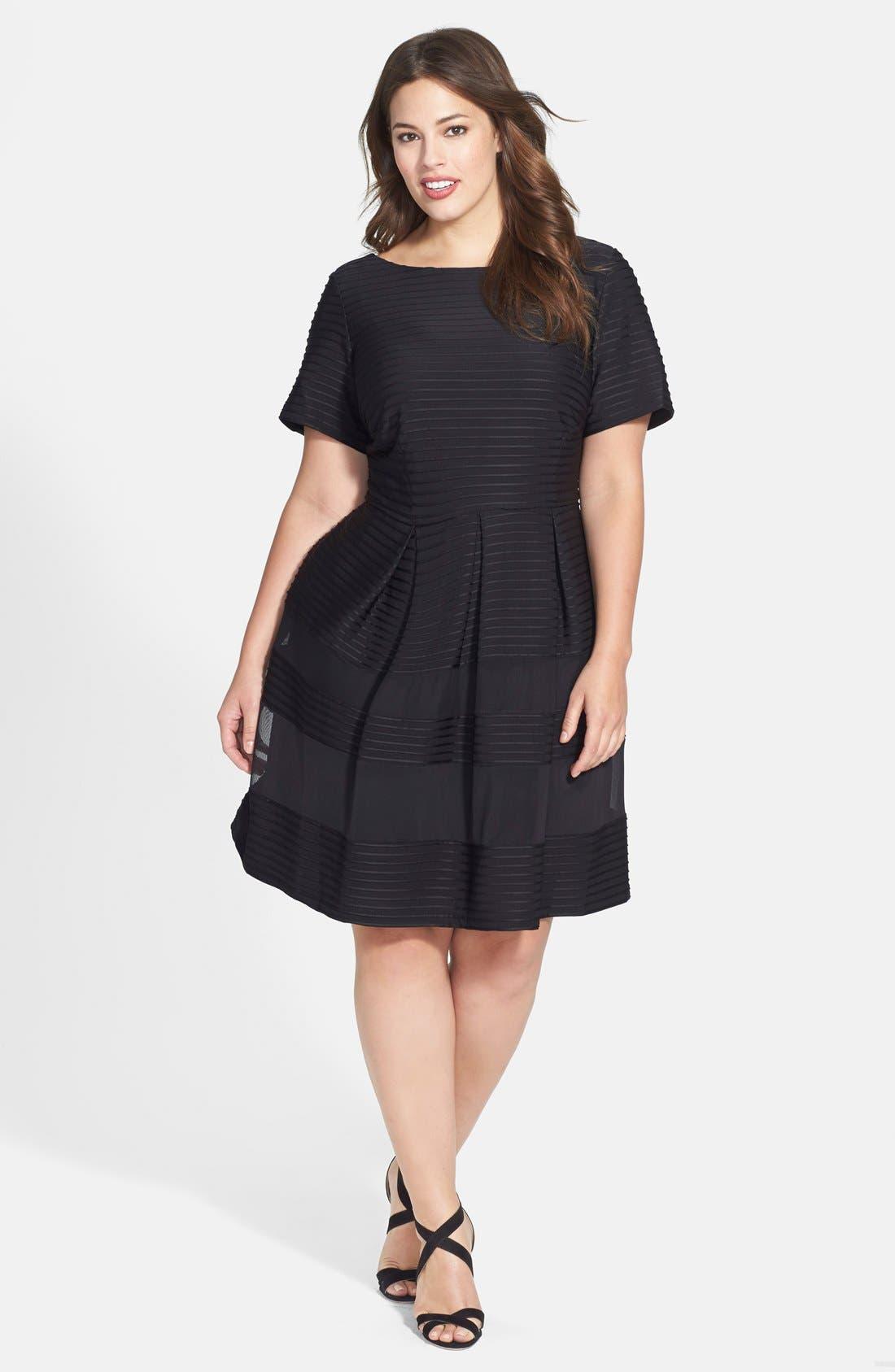 Main Image - Taylor Dresses Pintuck Fit & Flare Dress (Plus Size)