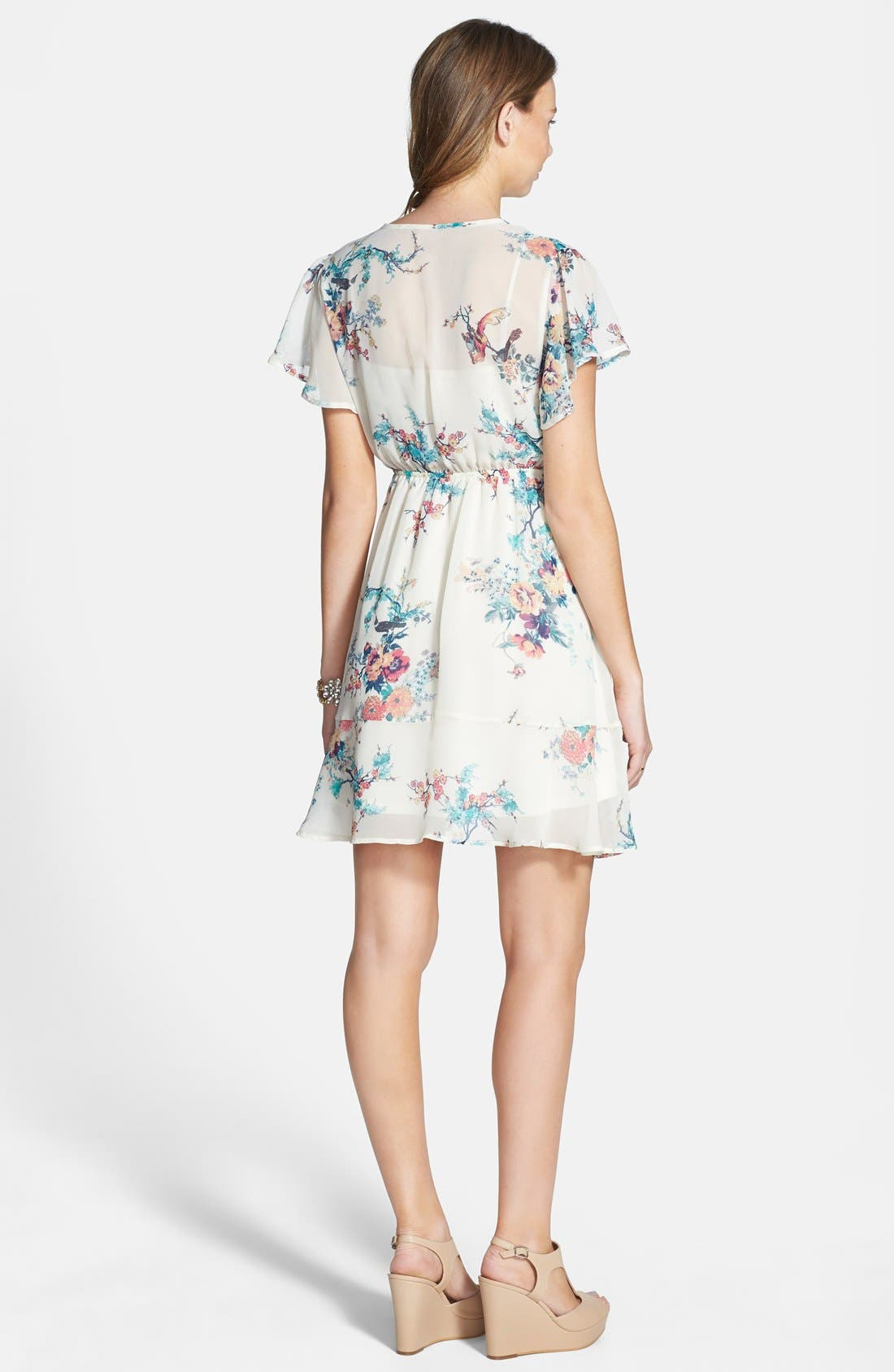 Alternate Image 2  - BP. Surplice Flutter Sleeve Babydoll Dress