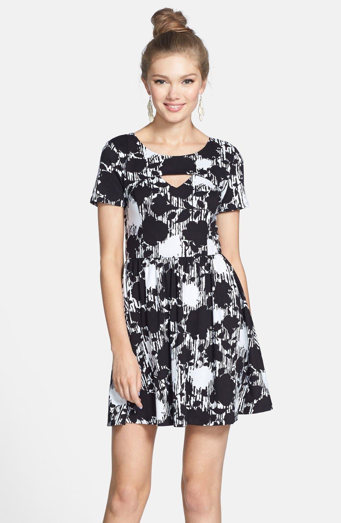 Alternate Image 1 Selected - Lush Floral Print Cutout Skater Dress (Juniors)