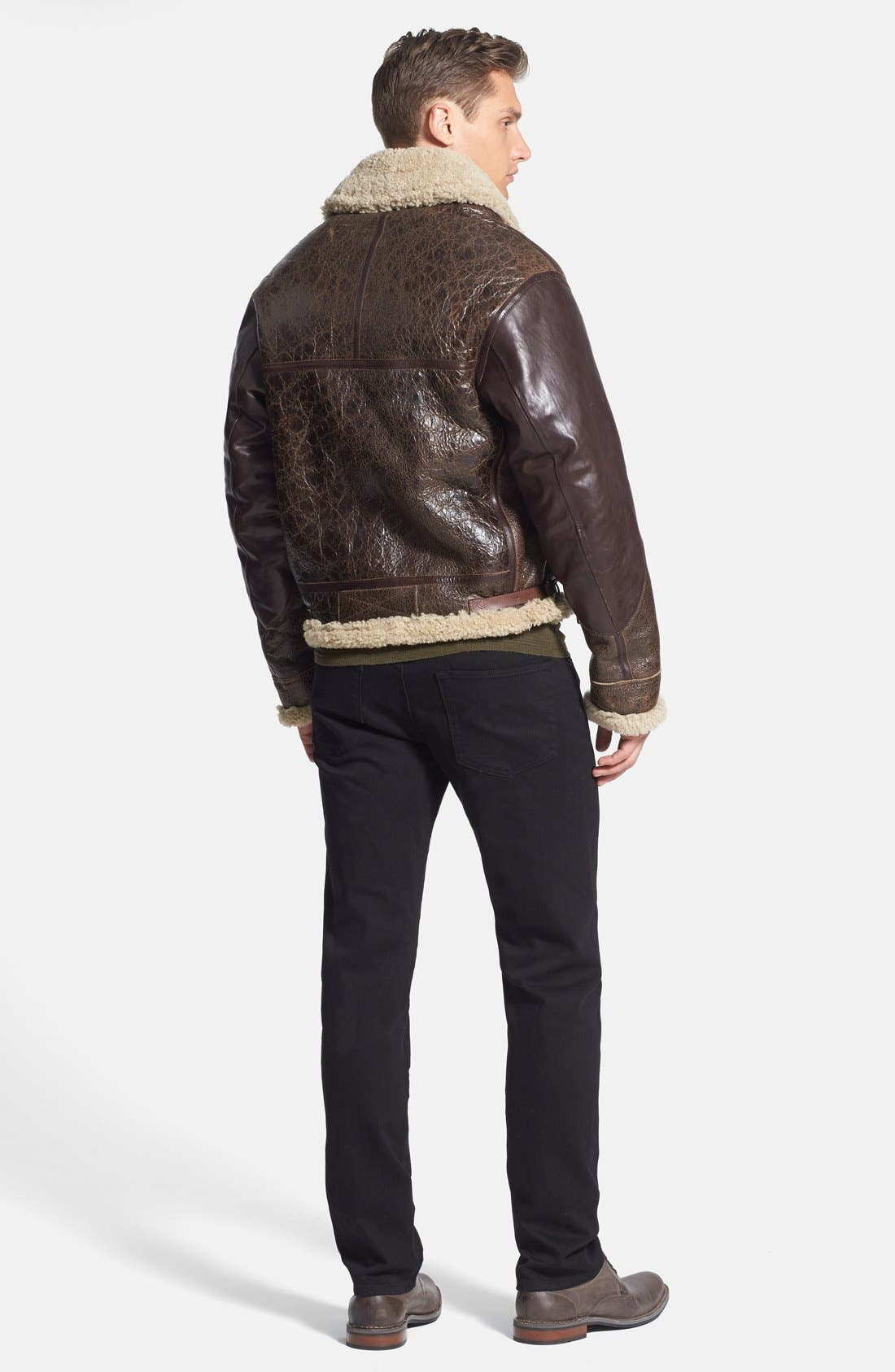 Alternate Image 5  - Burberry Brit 'Ormsby' Distressed Leather Jacket with Lamb Shearling Trim