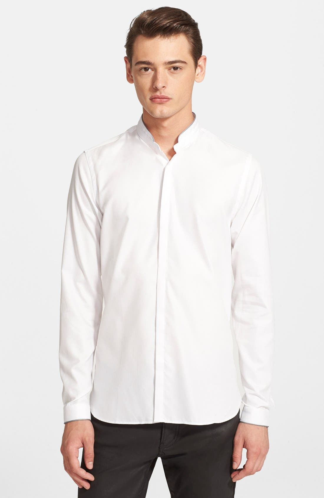 Main Image - The Kooples Fitted Band Collar Dress Shirt