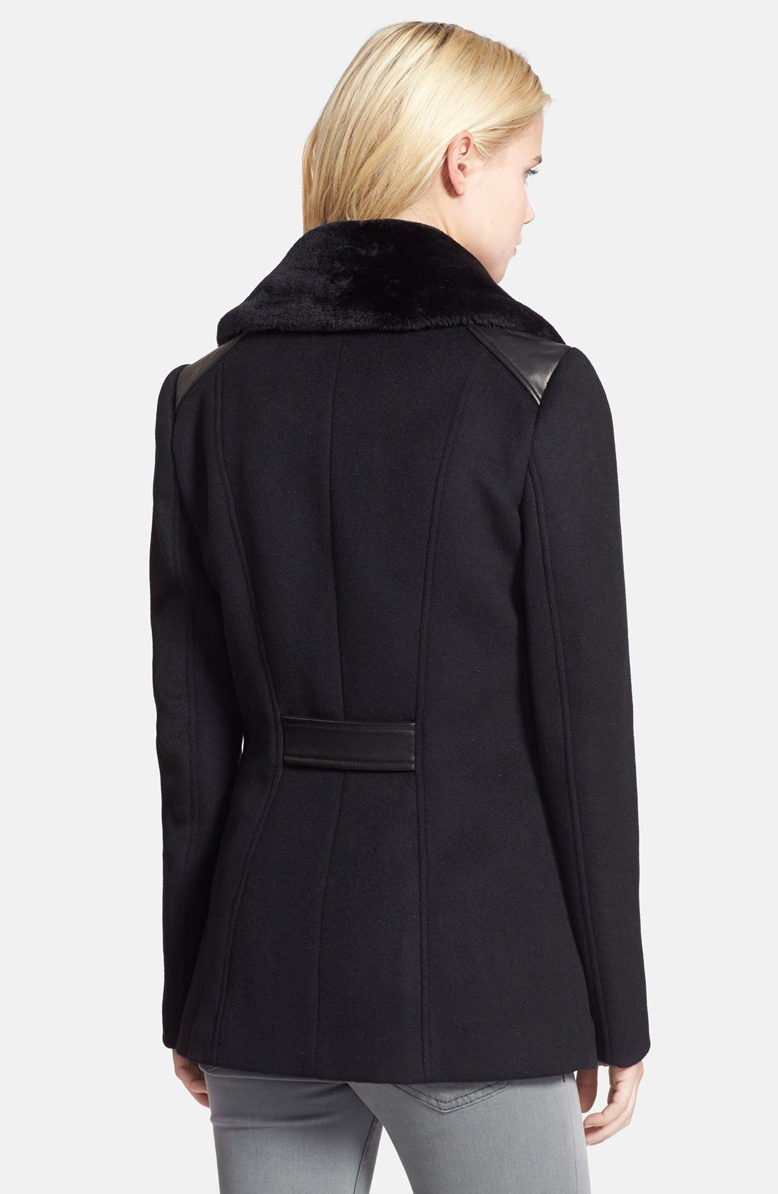 Alternate Image 2  - Soia & Kyo Double Breasted Wool Blend Peacoat with Faux Fur Collar (Online Only)